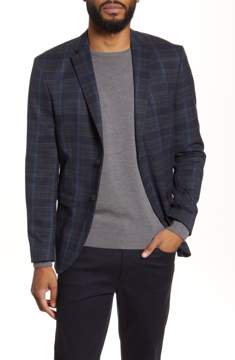 SELECTED HOMME My Logan Slim Fit Plaid Sport Coat, Main, color, NAVY BLAZER