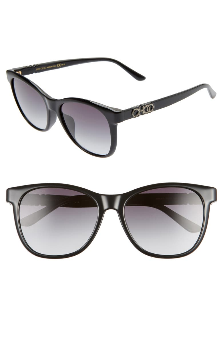 JIMMY CHOO June 56mm Special Fit Sunglasses, Main, color, 001