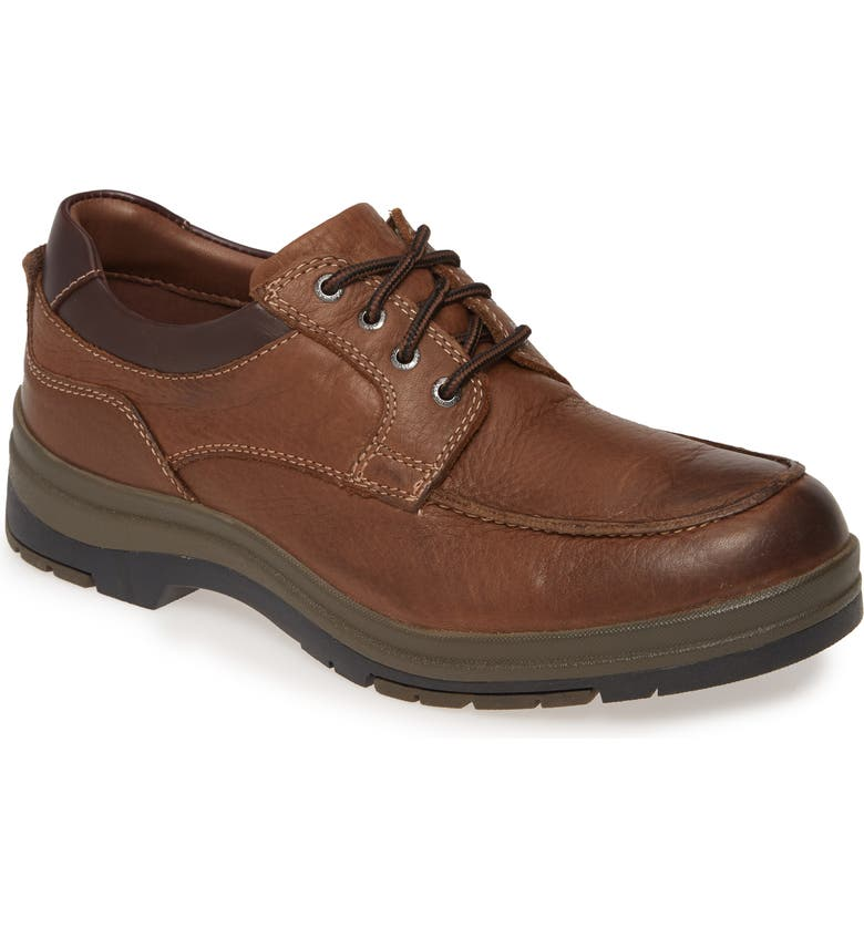 JOHNSTON & MURPHY Cahill Moc Toe Derby, Main, color, BROWN LEATHER