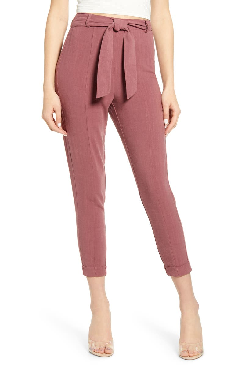 JUNE & HUDSON Belted High Waist Crop Pants, Main, color, 930