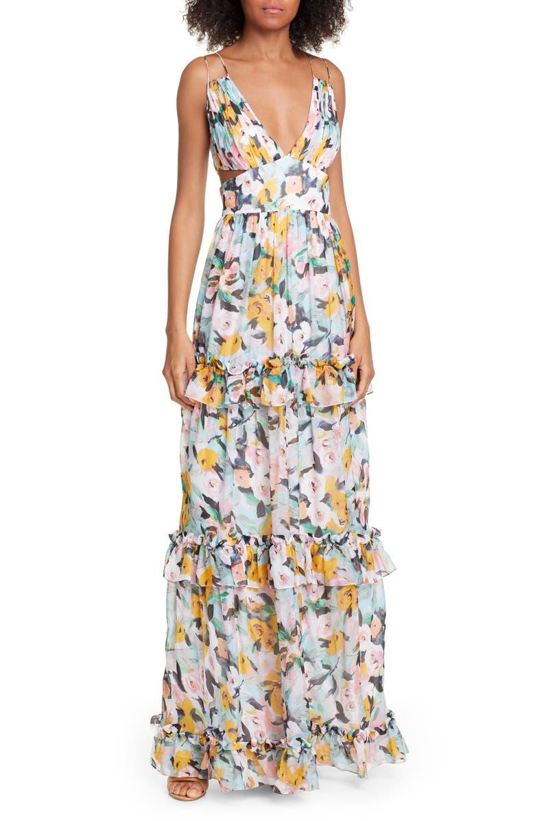 AMUR Drew Floral Print Evening Dress, Main, color, AQUA