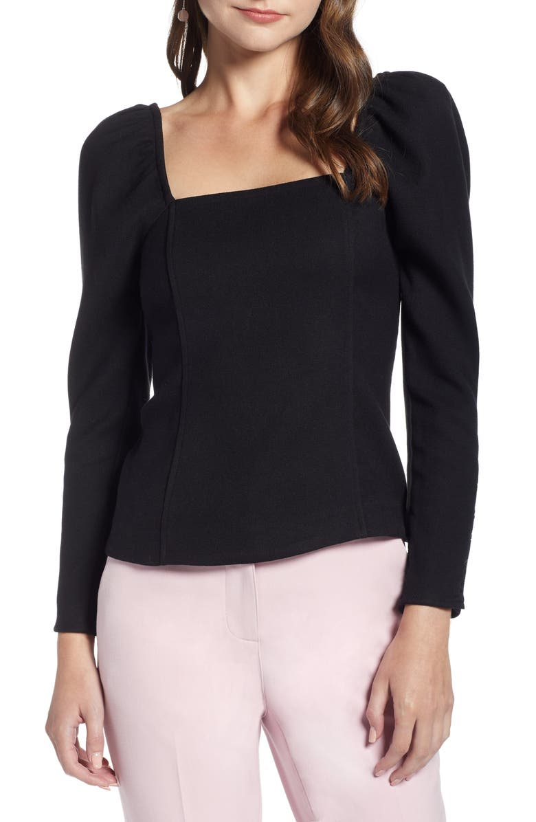 SOMETHING NAVY Fitted Square Neck Top, Main, color, 001