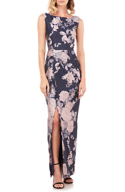 Image of Kay Unger Cameron Floral Jacquard Column Gown