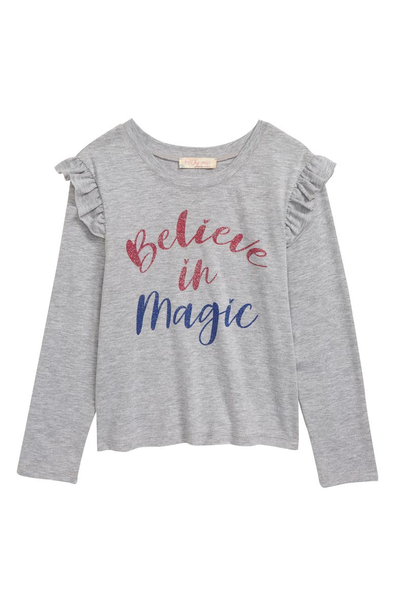 TRULY ME Believe in Magic Graphic Long Sleeve Tee, Main, color, HEATHER GREY