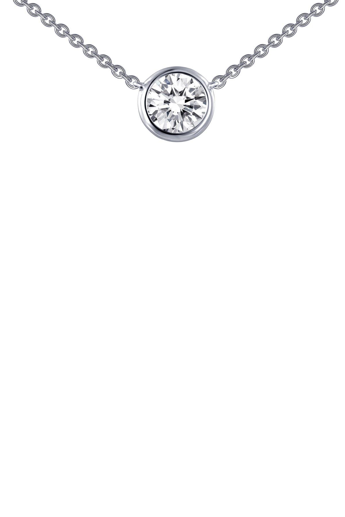Image of LaFonn Platinum Plated Sterling Silver Simulated Diamond Bezel Solitaire Necklace