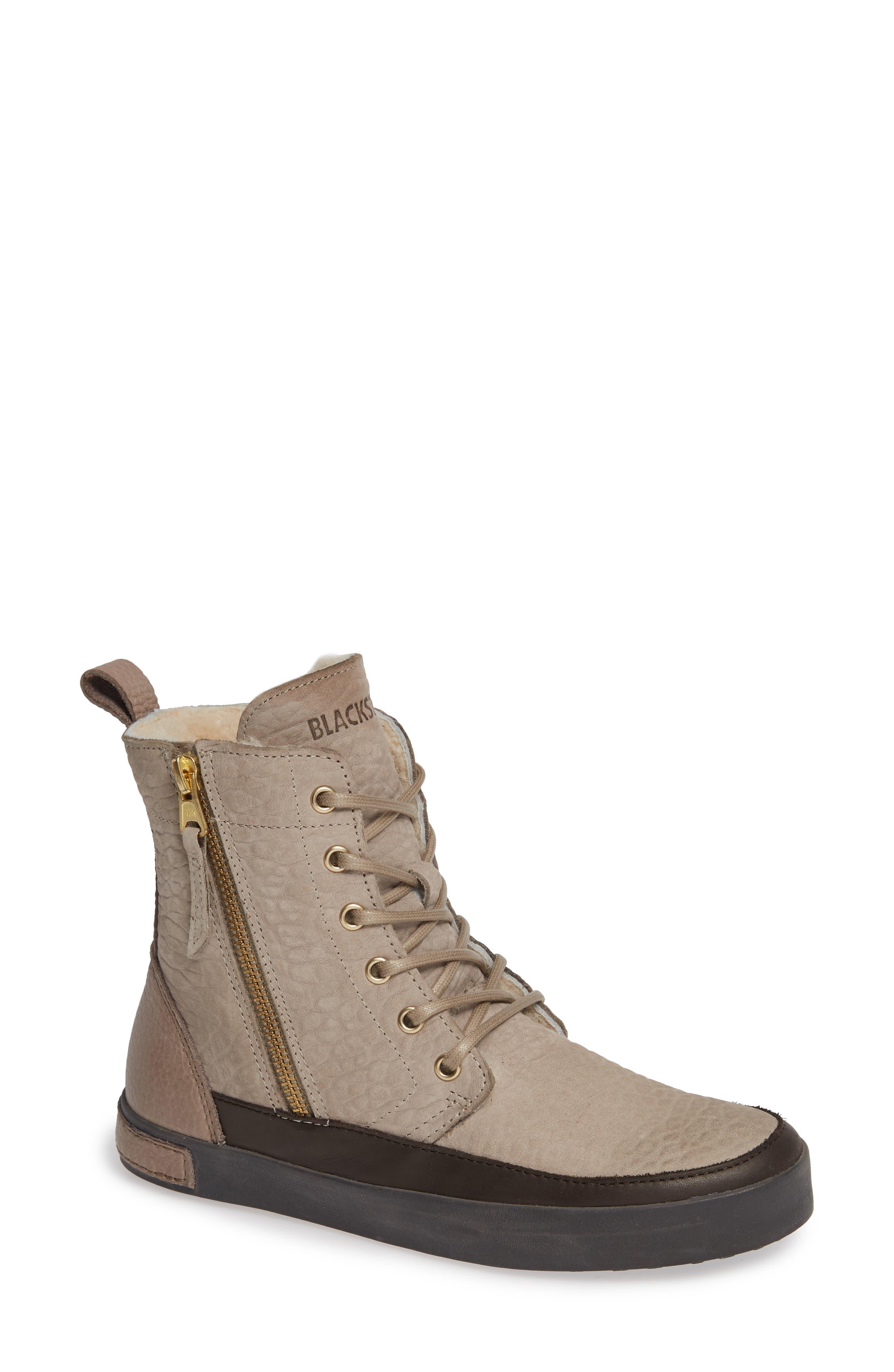 Blackstone Ql43 High Top Sneaker With Genuine Shearling Lining, Grey