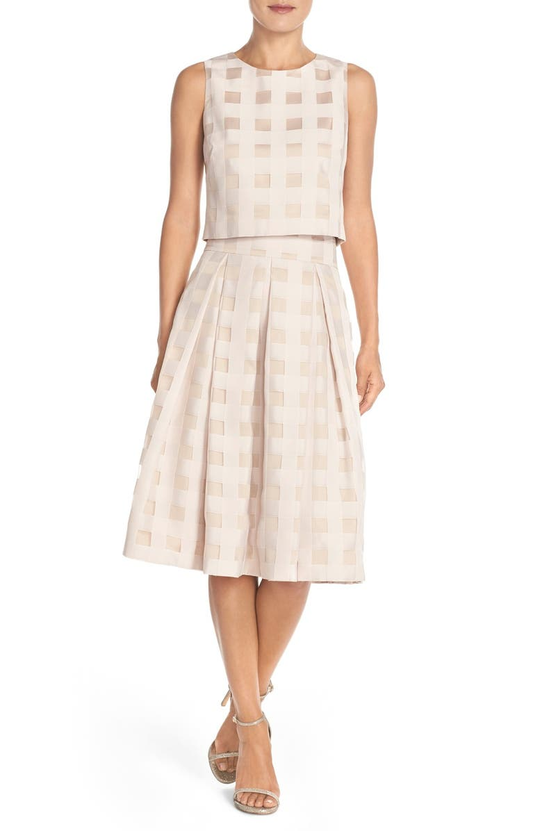 ELIZA J Check Satin Two-Piece Dress, Main, color, BLUSH