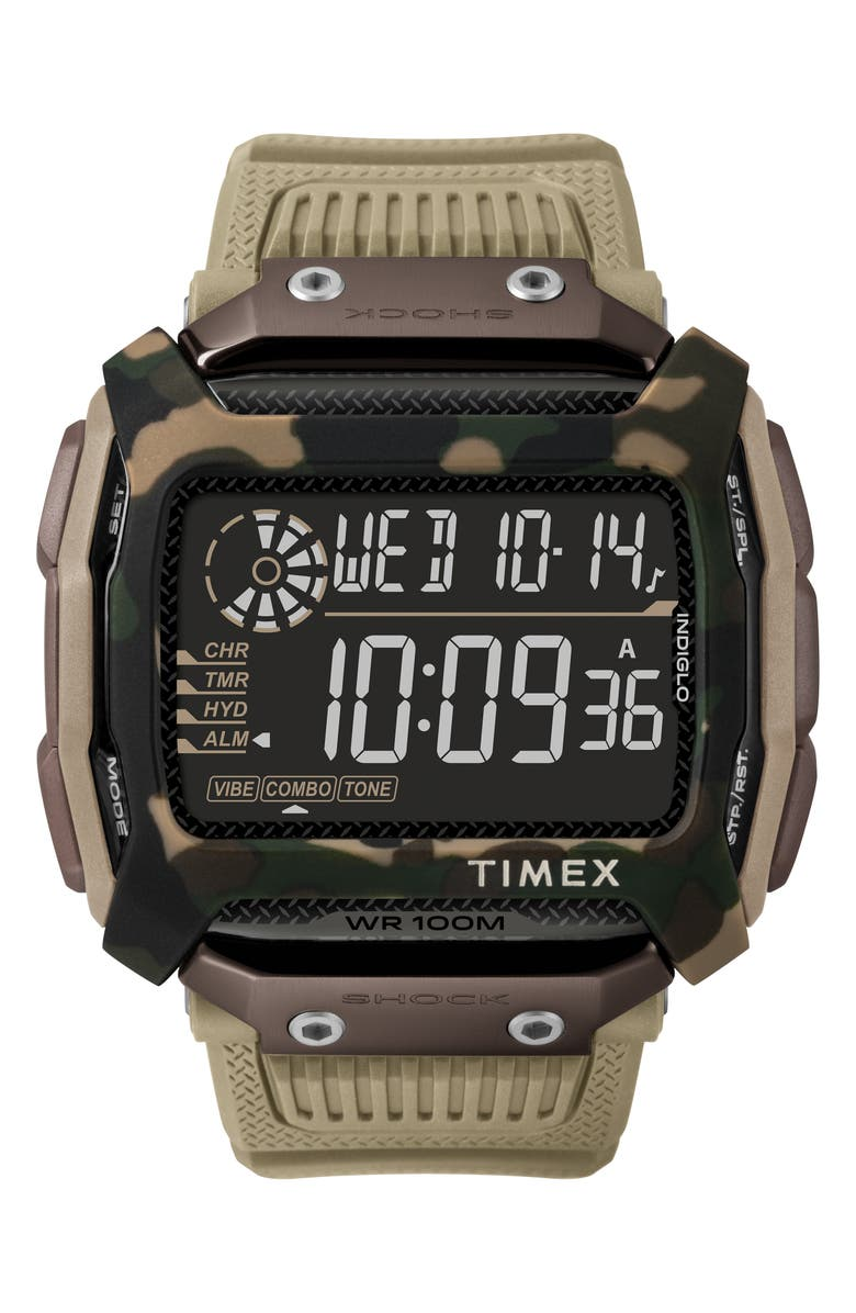 TIMEX<SUP>®</SUP> Timex Command<sup>™</sup> Shock Digital Silicone Strap Watch, 54mm, Main, color, SAND/ BLACK/ SAND