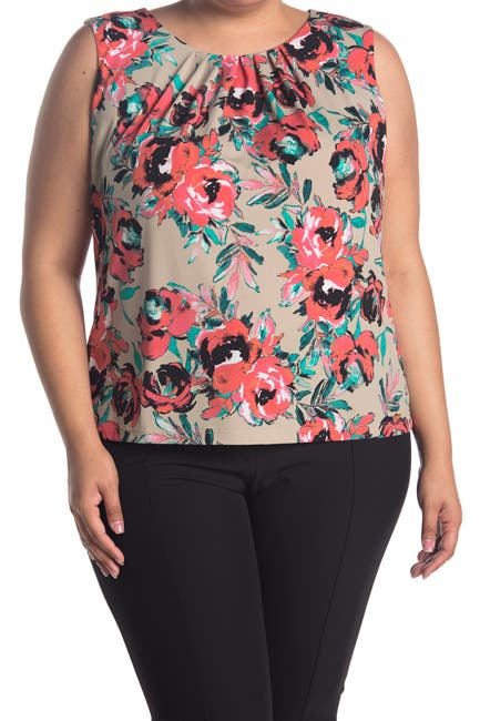 Image of Calvin Klein Floral Pleated Sleeveless Top
