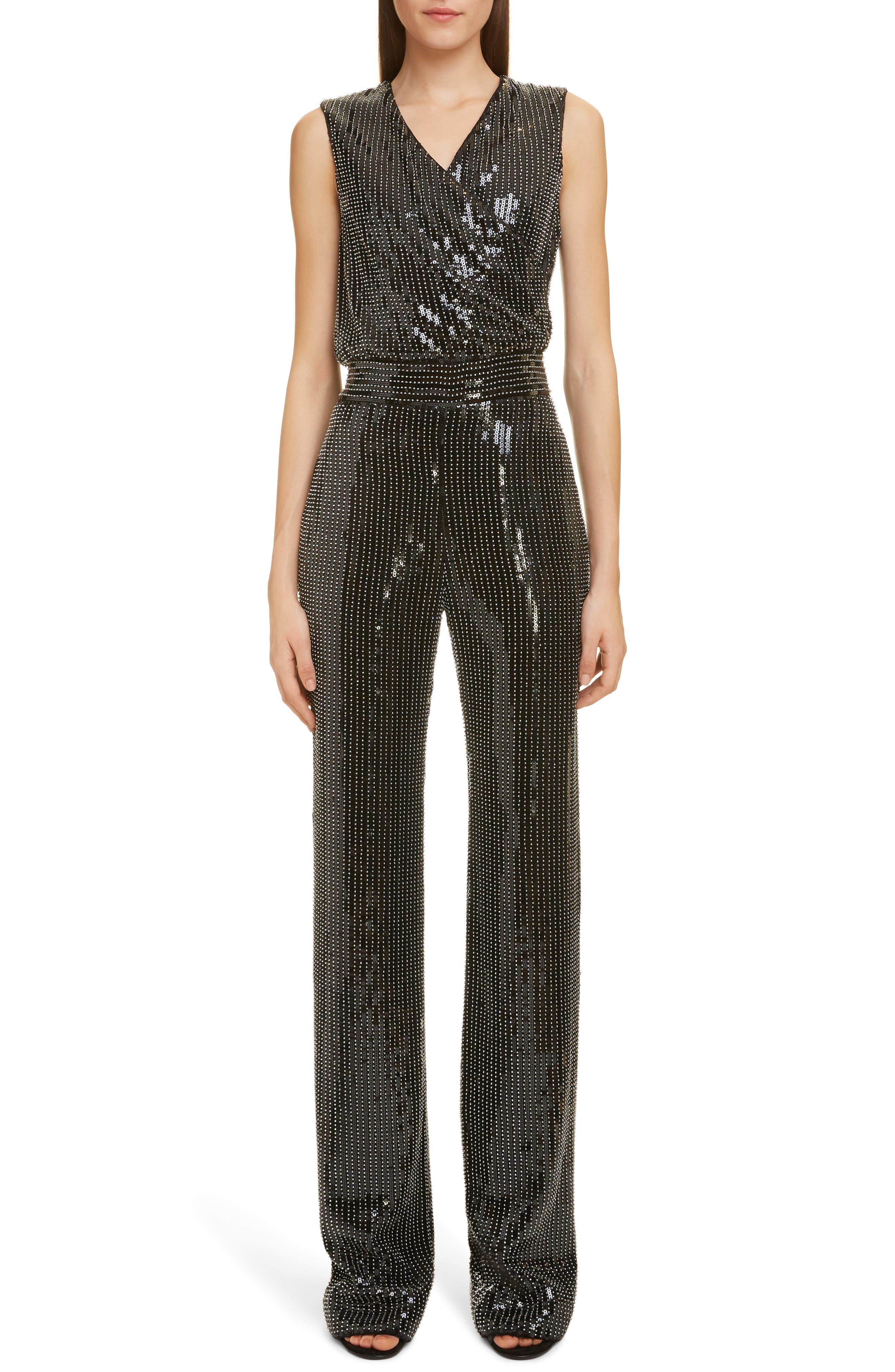 Beaded Sequin Jumpsuit, Main, color, NOIR/ ARGENT