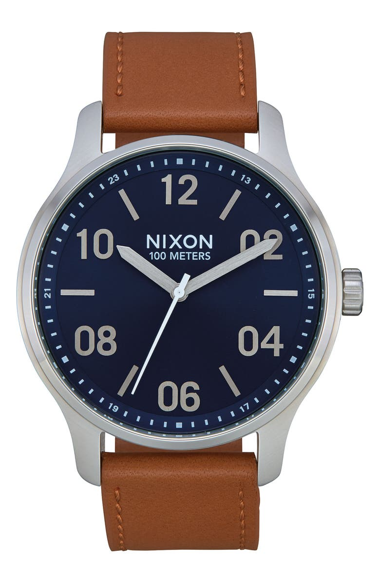 NIXON Patrol Leather Strap Watch, 42mm, Main, color, BROWN/ NAVY/ SILVER