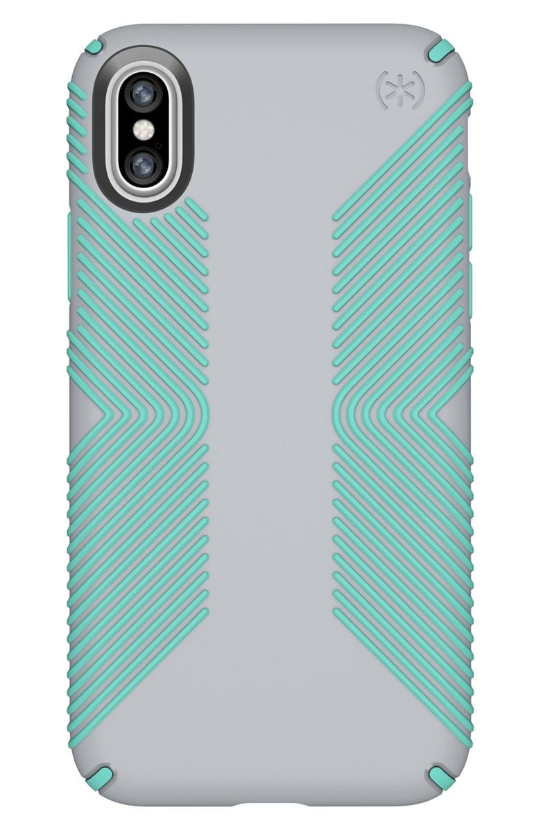 SPECK iPhone X & Xs Case, Main, color, DOLPHIN GREY/ ALOE GREEN