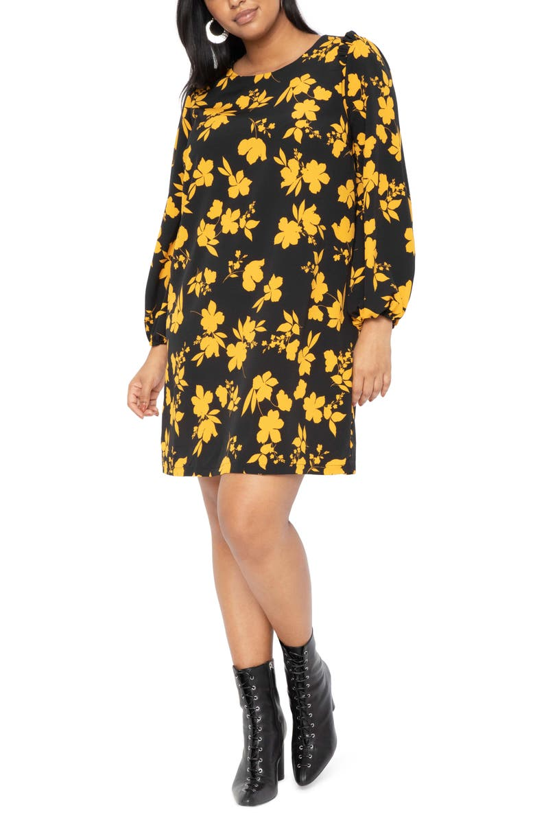 ELOQUII Floral Ruffle Long Sleeve Cotton Blend Crepe Shift Dress, Main, color, SWEETPEA SILHOUETTES