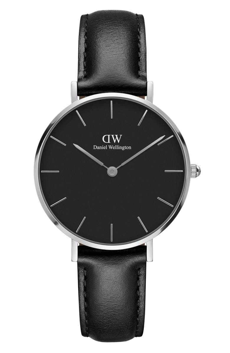 DANIEL WELLINGTON Classic Petite Leather Strap Watch, 32mm, Main, color, BLACK/ SILVER