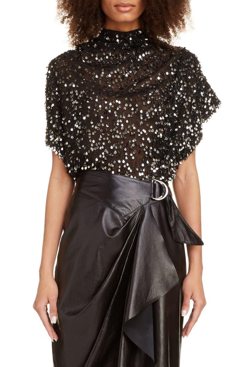 ISABEL MARANT Sequin Drape Blouse, Main, color, BLACK