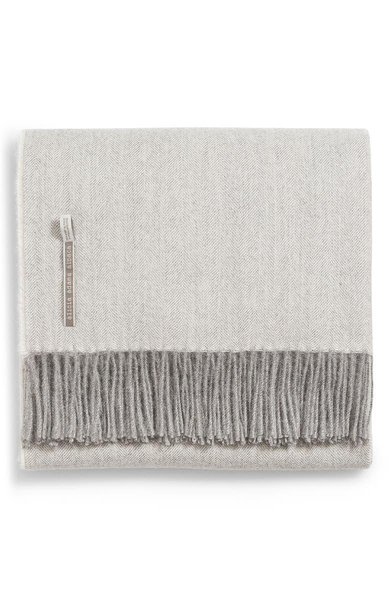 ALICIA ADAMS ALPACA Classic Herringbone Throw Blanket, Main, color, PEARL GREY