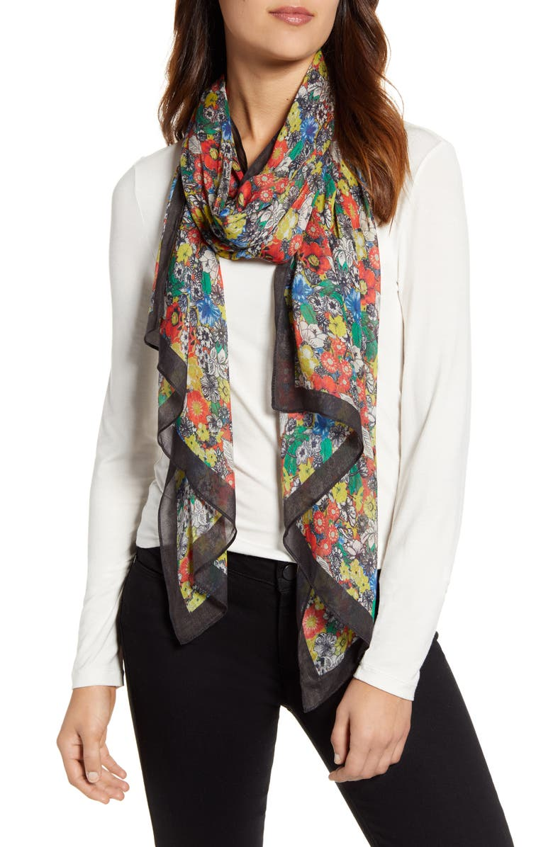 REBECCA MINKOFF Sketch Floral Cotton Scarf, Main, color, BLACK