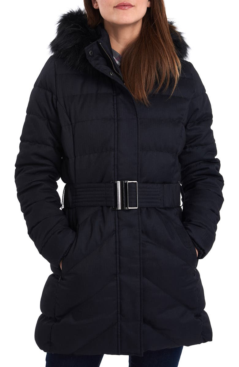 BARBOUR Waylite Quilted Hooded Puffer Coat with Faux Fur Trim, Main, color, 001