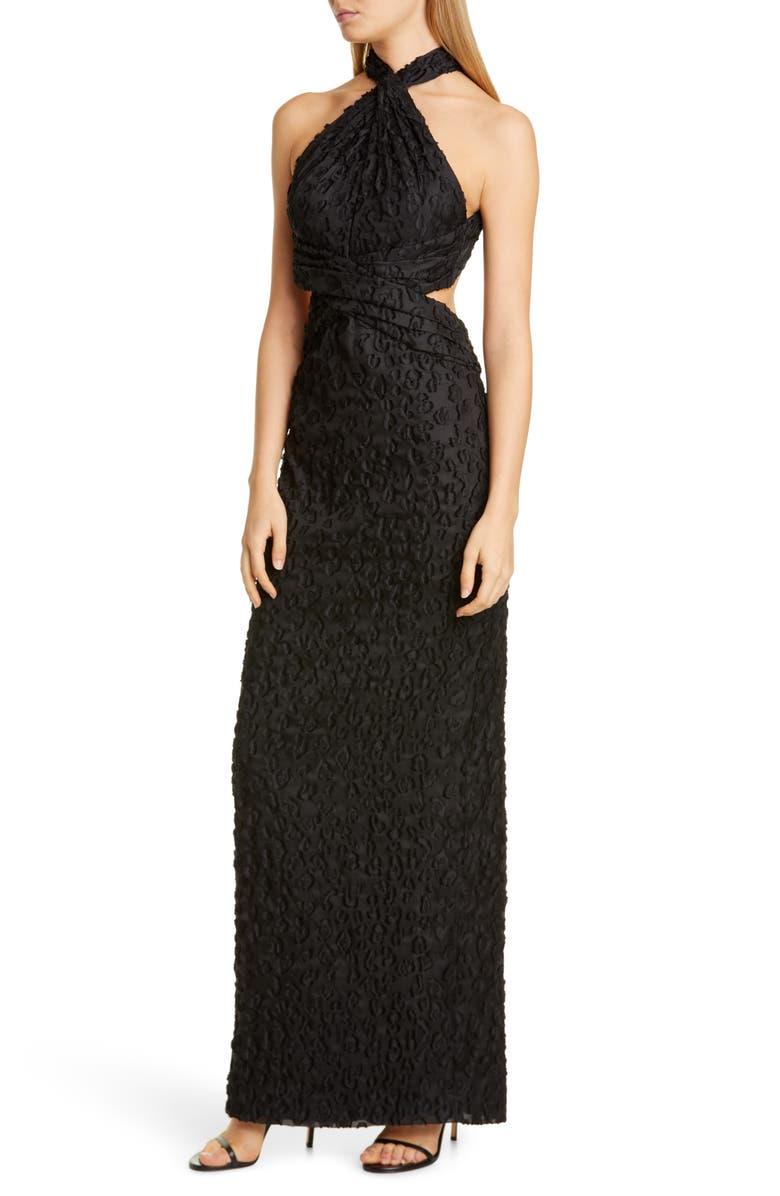 BRANDON MAXWELL Open Back Halter Column Gown, Main, color, BLACK