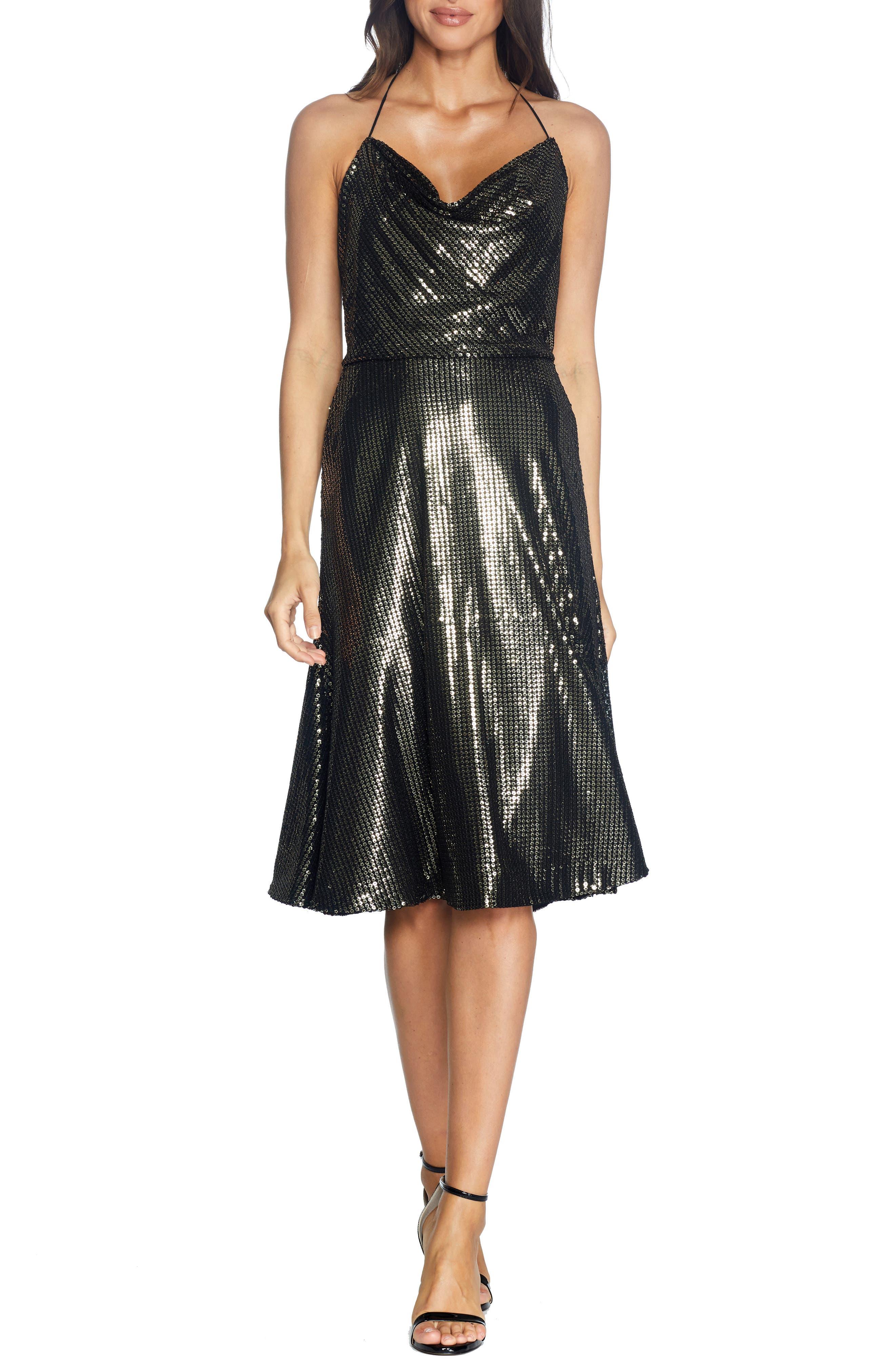 70s Prom, Formal, Evening, Party Dresses Womens Dress The Population Zherra Sequin Midi Dress Size XX-Small - Black $258.00 AT vintagedancer.com