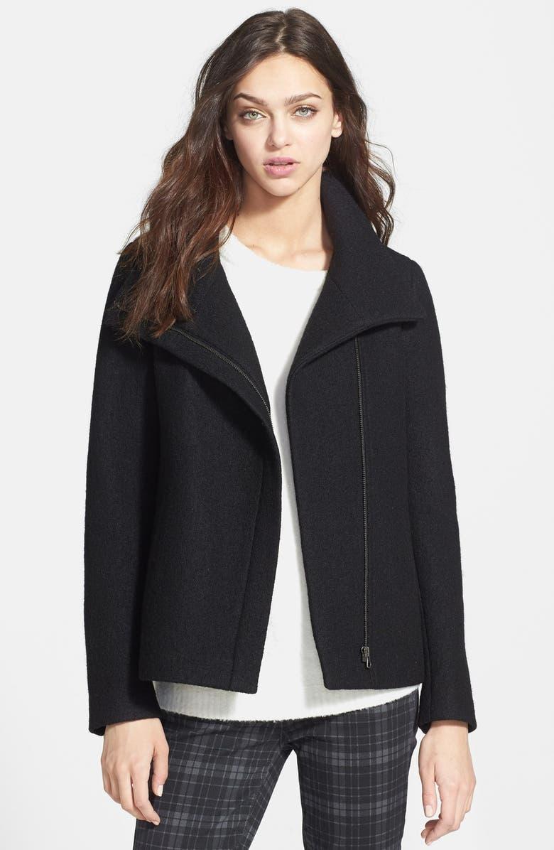 SOIA & KYO 'Reagan' Asymmetrical Bouclé Tweed Jacket, Main, color, 001