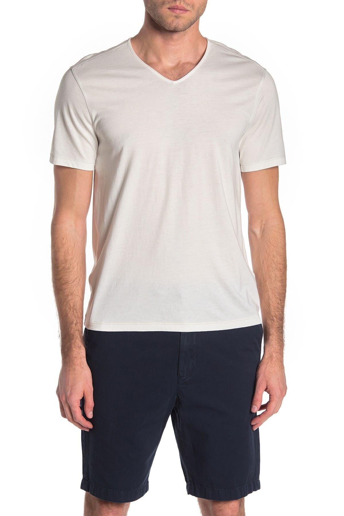 John Varvatos Star USA Men/'s Short Sleeve V Neck Tee Shirt Raw Cut Edges Black L