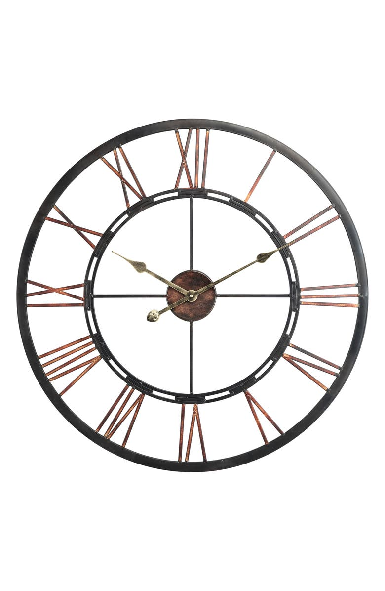 GEORGE AND CO Metal Wall Clock, Main, color, BLACK