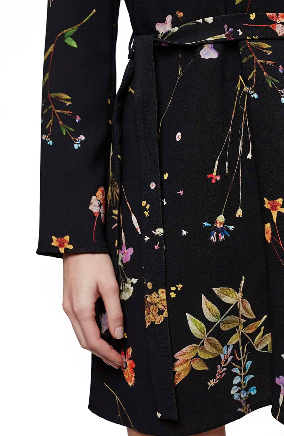 ,                             Belted Floral Tunic Dress,                             Alternate thumbnail 4, color,                             001