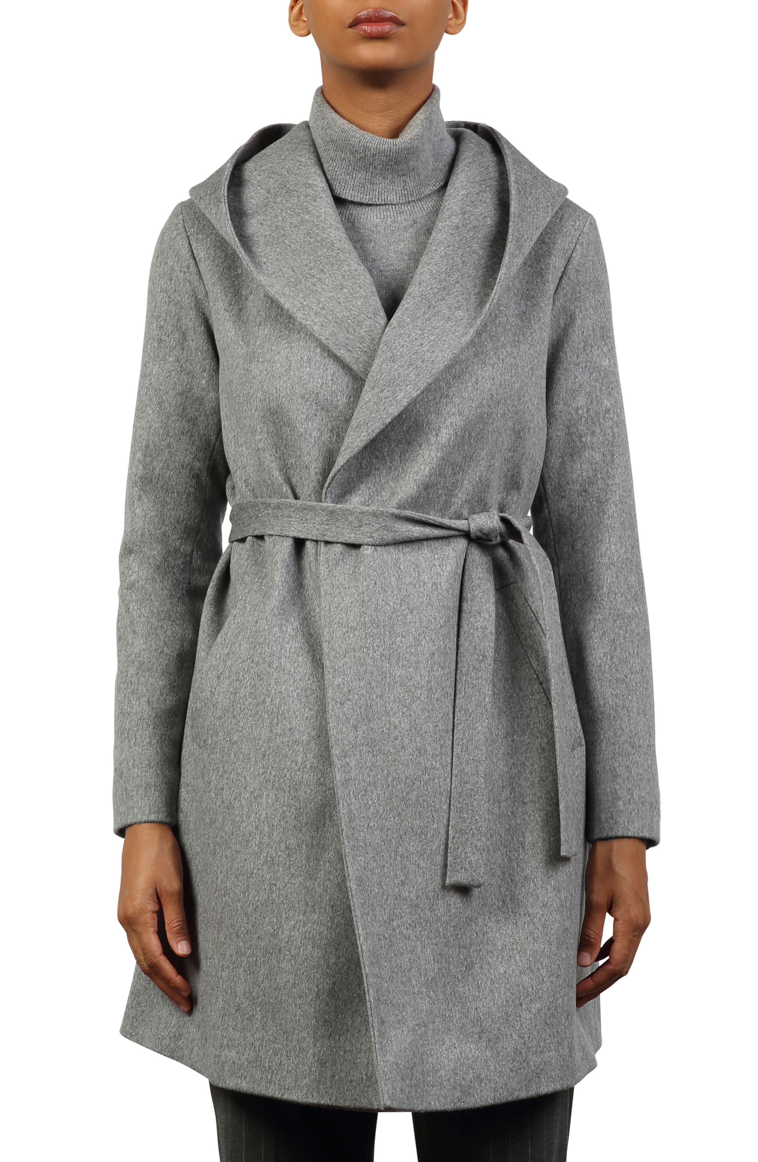 Hooded Wool Wrap Coat