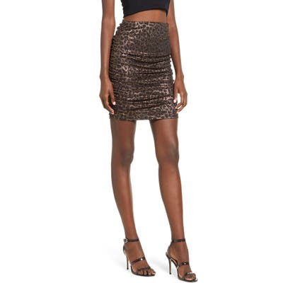 Leith Sparkle Leopard Print Ruched Miniskirt, Metallic