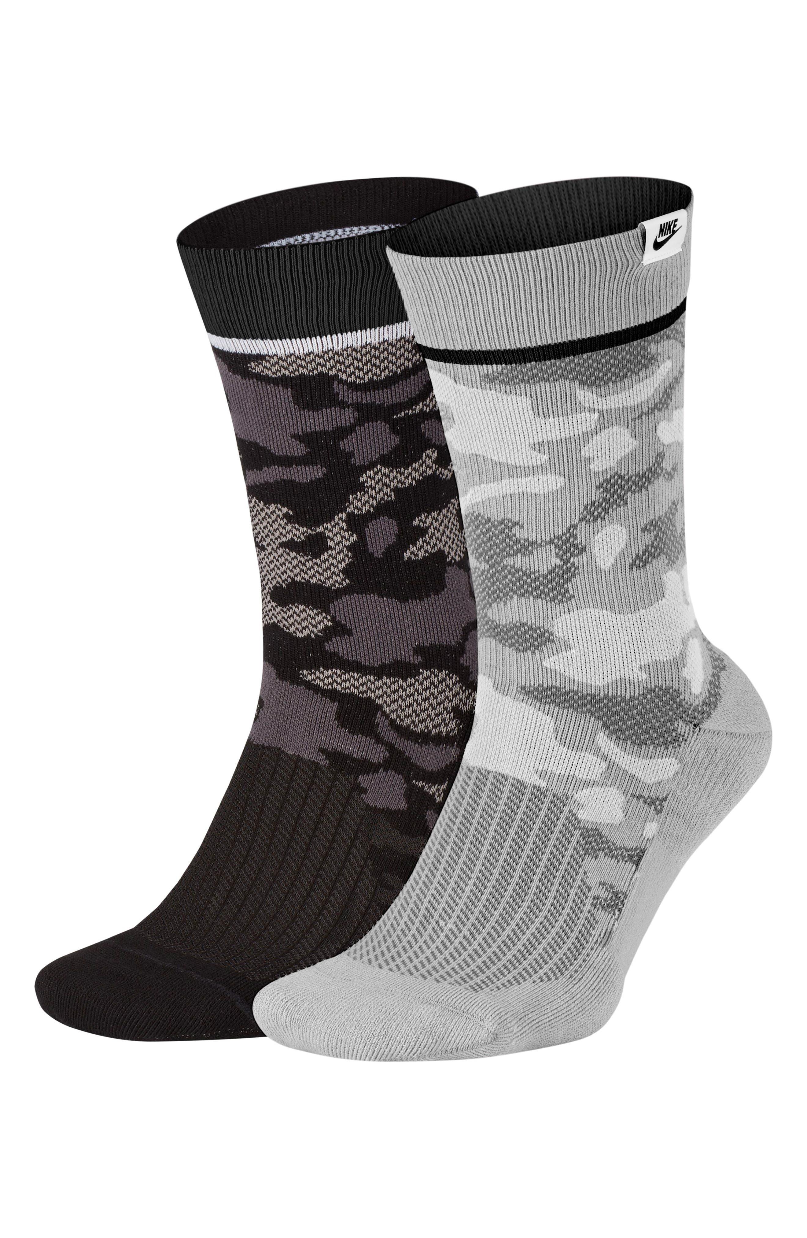 ,                             2-Pack Camo Crew Socks,                             Main thumbnail 1, color,                             BLACK/ WHITE/ GREY