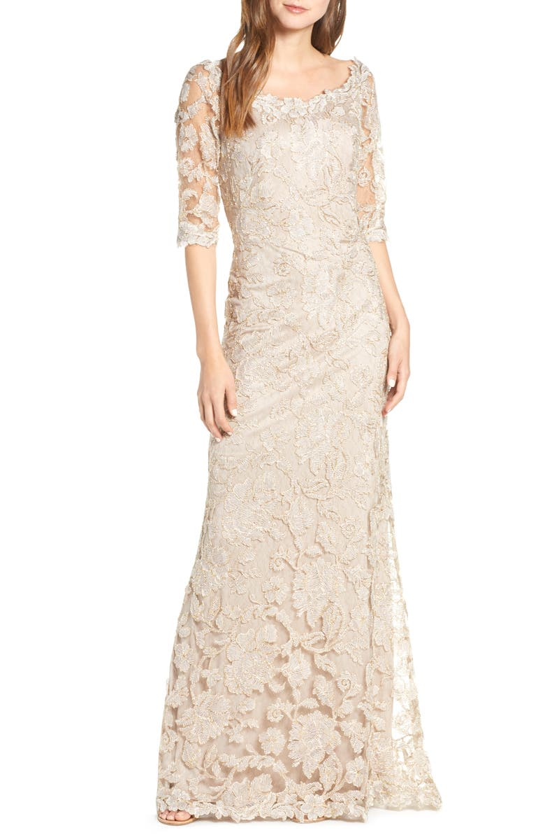 TADASHI SHOJI Embroidered Boat Neck Mermaid Gown, Main, color, 250