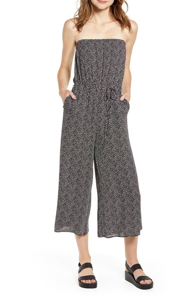 GOOD LUCK GEM Strapless Wide Leg Crop Jumpsuit, Main, color, 001