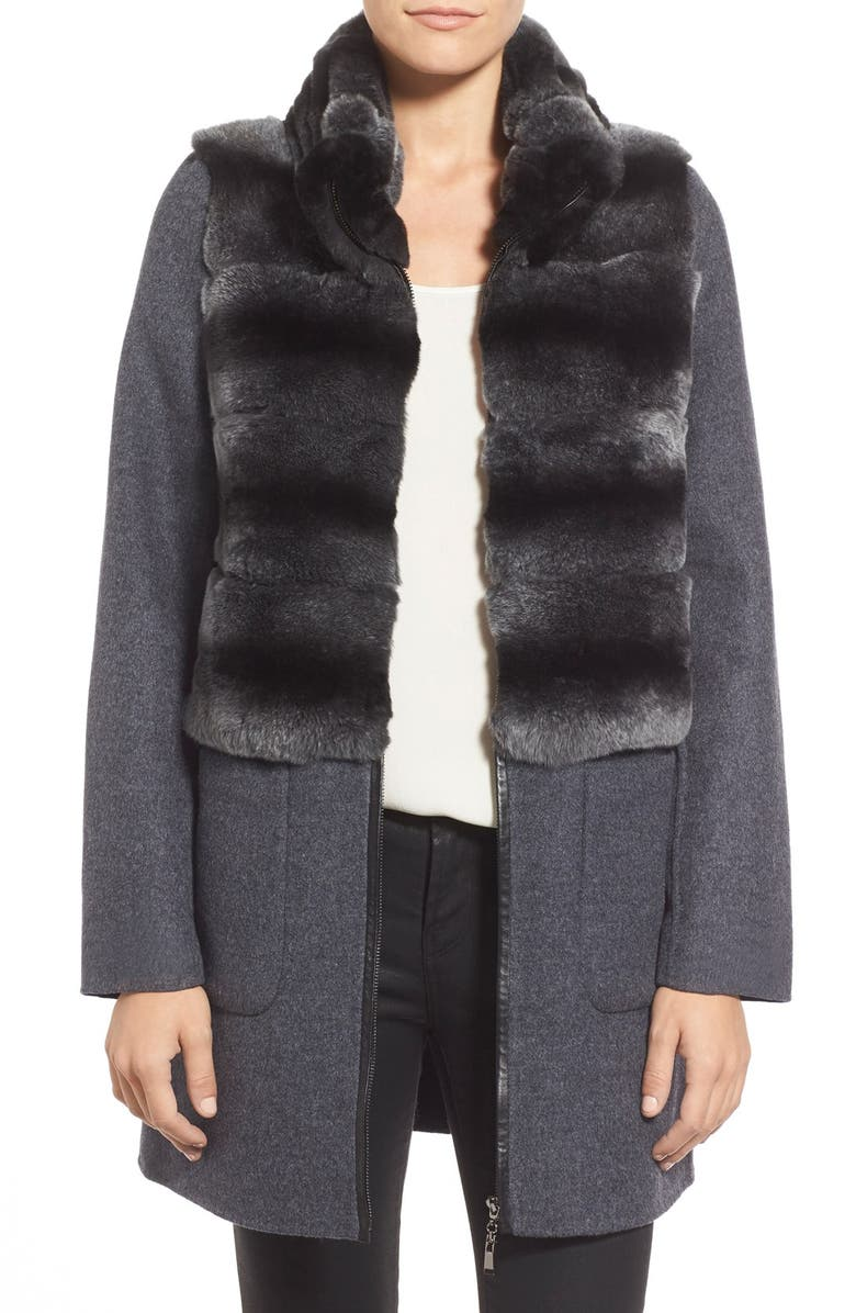 BLUE DUCK Genuine Rabbit Fur Trim Wool & Cashmere Coat, Main, color, 022