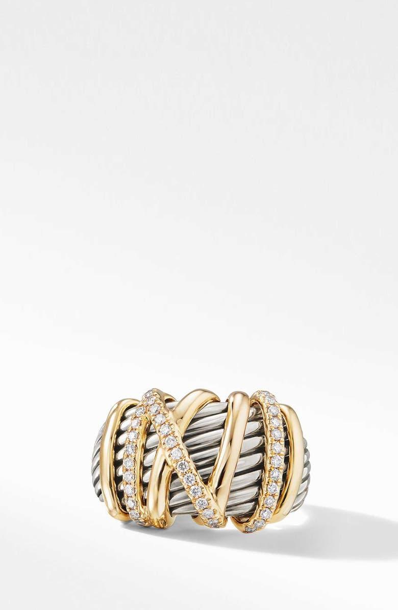 DAVID YURMAN Helena Statement Ring with 18K Gold and Diamonds, Main, color, GOLD/ SILVER/ DIAMOND