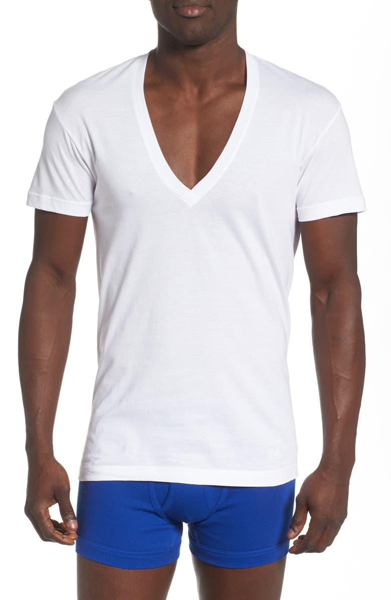 2(X)IST 3-Pack Slim Fit Deep V-Neck T-Shirt, Main, color, WHITE