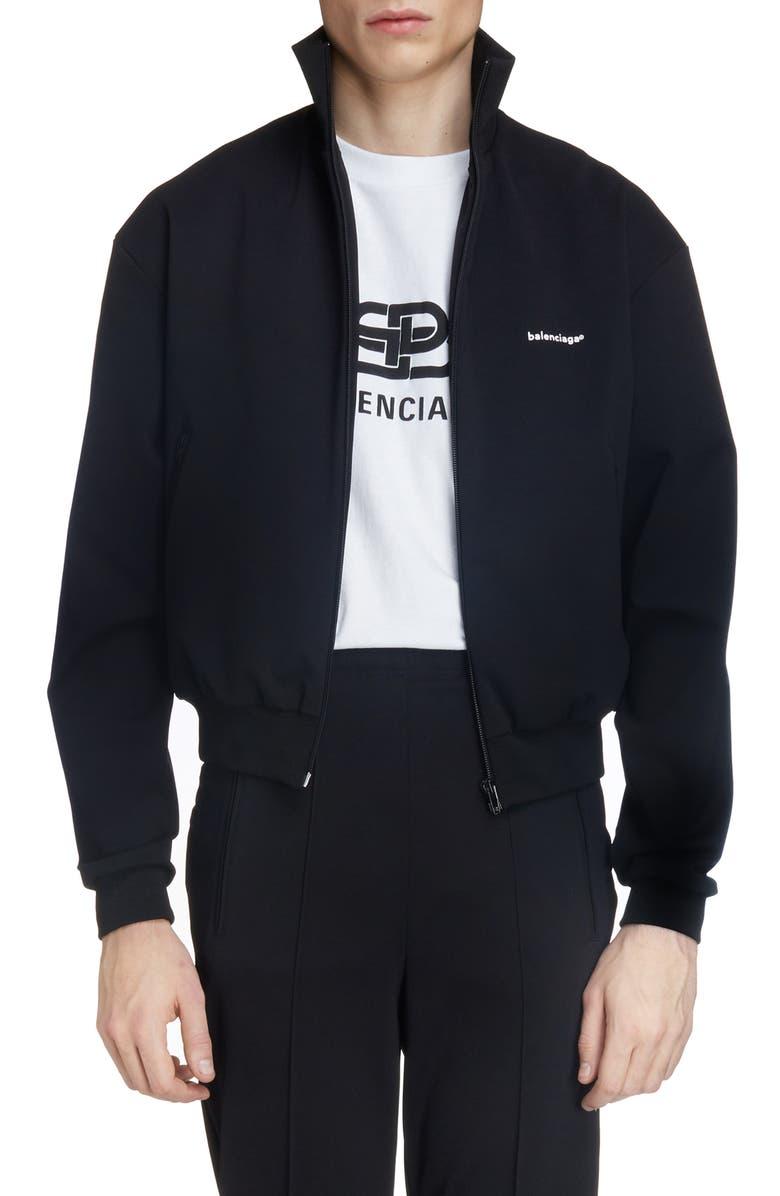 BALENCIAGA Zip Logo Jacket, Main, color, BLACK