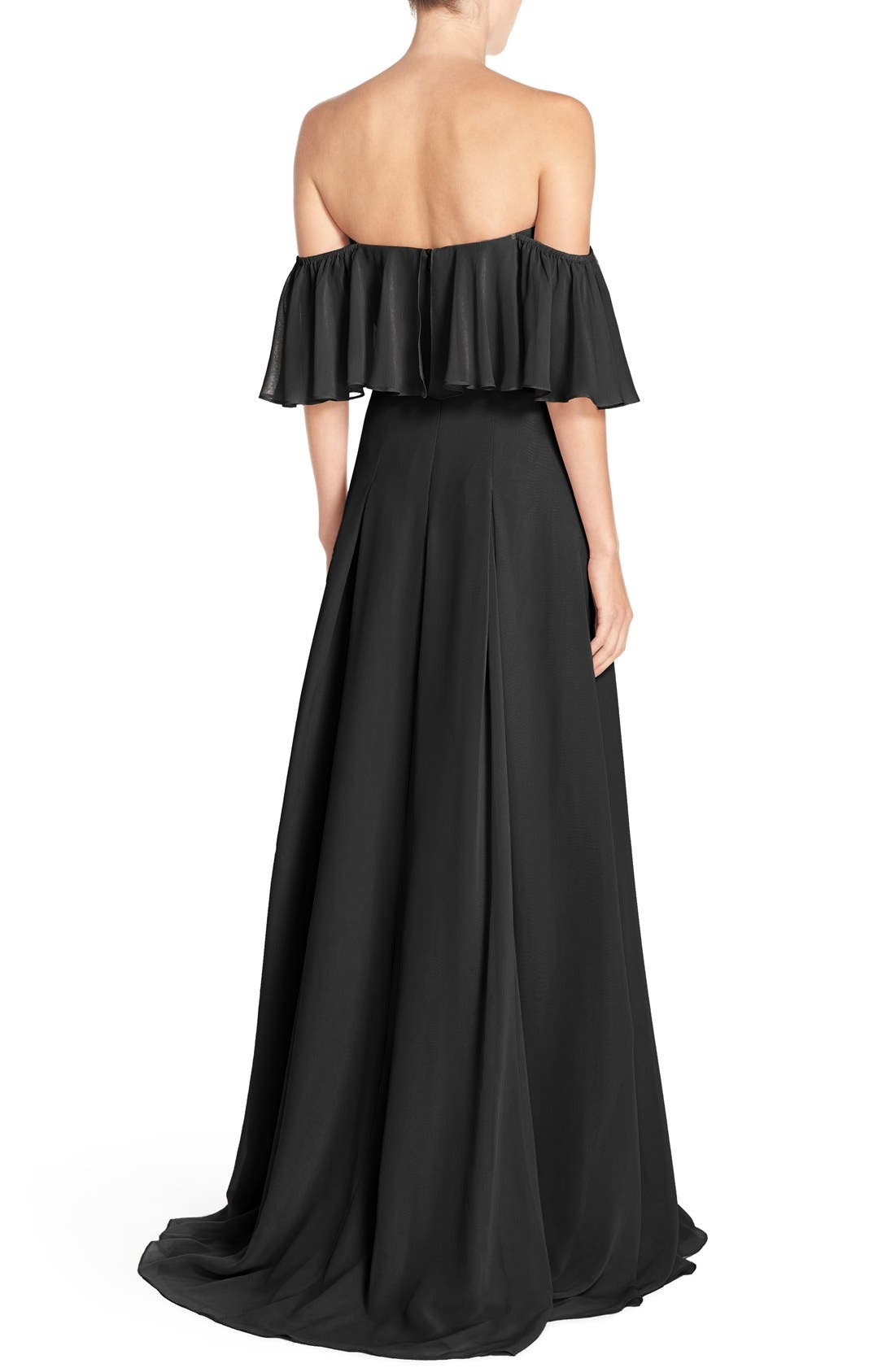 ,                             Off the Shoulder Chiffon Gown,                             Alternate thumbnail 4, color,                             001