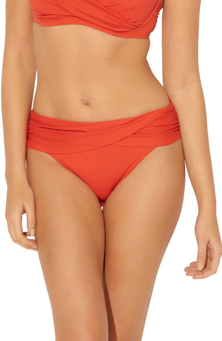 BLEU BY ROD BEATTIE Sarong Hipster Bikini Bottoms, Main, color, CORAL COAST