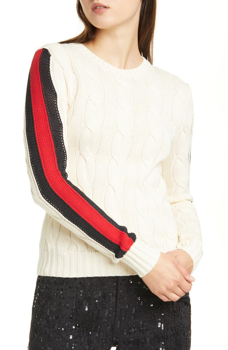 POLO RALPH LAUREN Stripe Sleeve Cable Knit Cotton Sweater, Main, color, CREAM MULTI