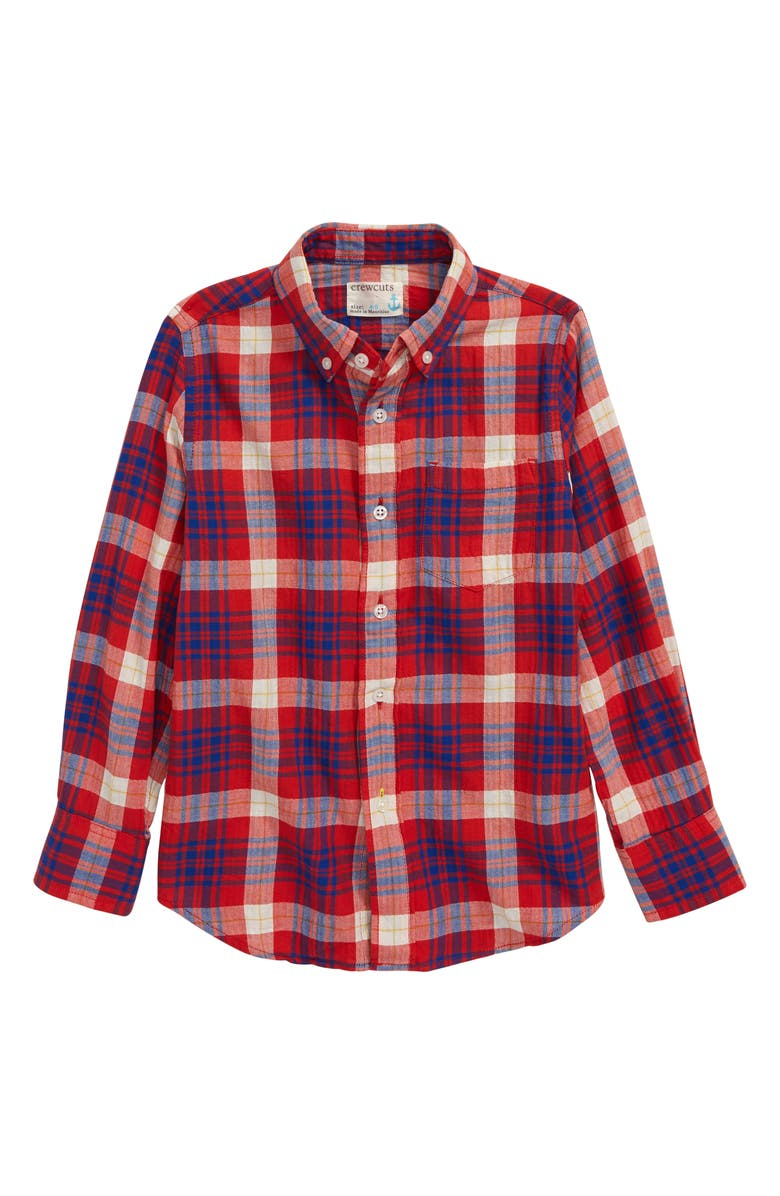 CREWCUTS BY J.CREW Button-Down Shirt, Main, color, RED/ BLUE PLAID