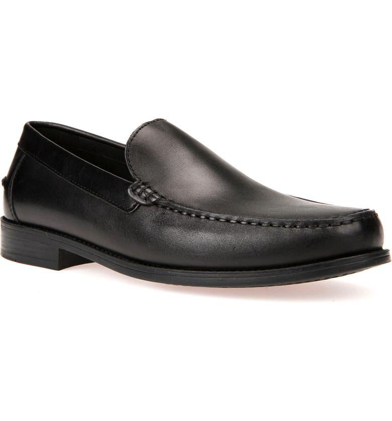 GEOX New Damon 2 Venetian Slip-On Shoe, Main, color, BLACK LEATHER