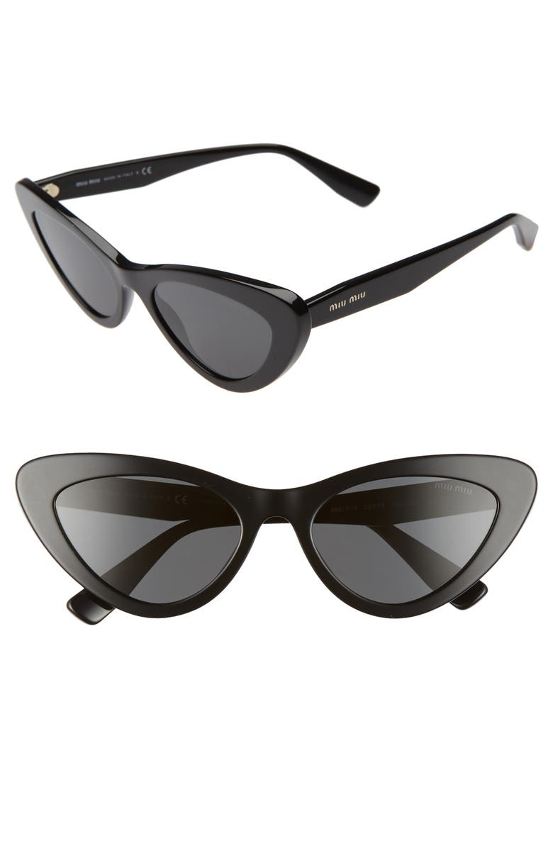 MIU MIU 55mm Butterfly Sunglasses, Main, color, BLACK/ BLACK SOLID