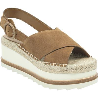 Marc Fisher Ltd Glenna Platform Slingback Sandal, Brown