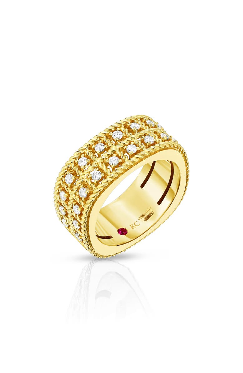 ROBERTO COIN Byzantine Double Row Diamond Ring, Main, color, YELLOW GOLD