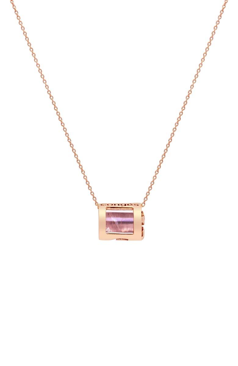 CONGÉS Love & Positivity Rose Quartz Barrel Initial Necklace, Main, color, ROSE GOLD-A