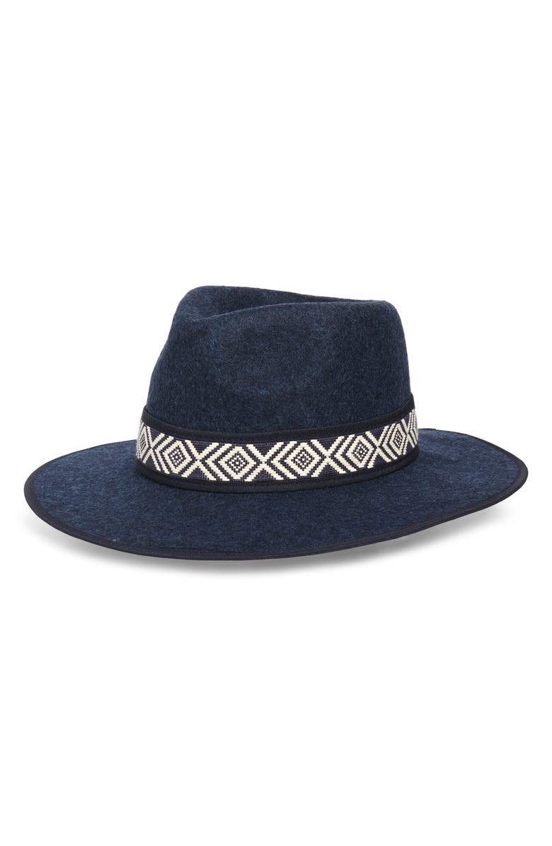TREASURE & BOND Felted Wool Western Hat, Main, color, NAVY COMBO