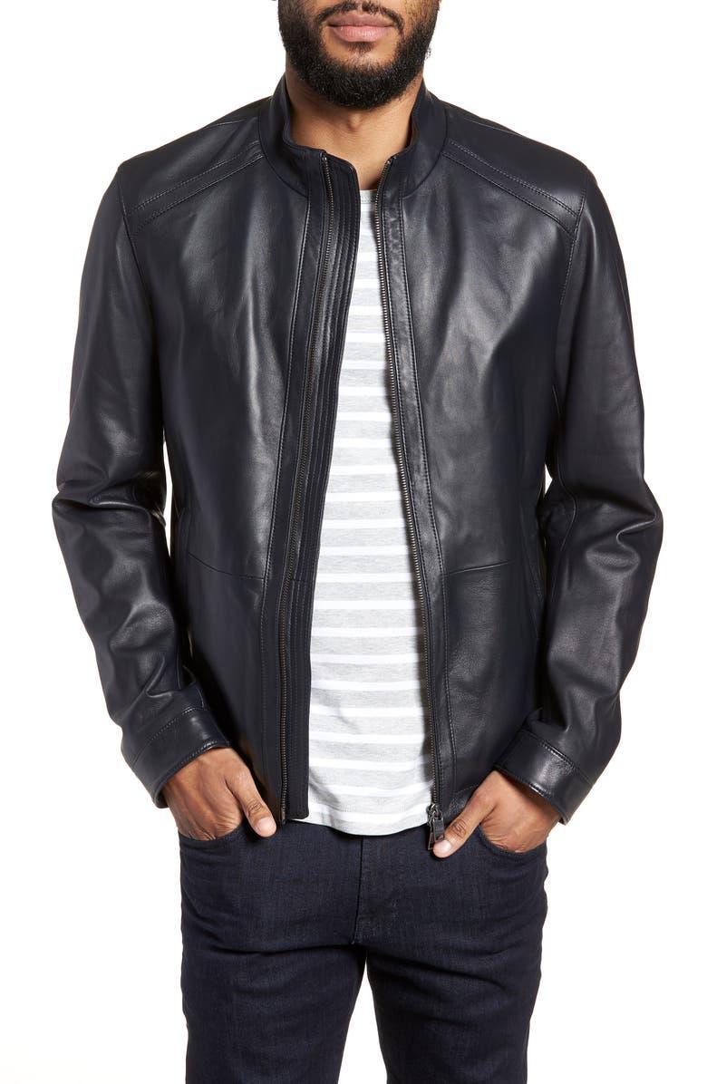 BOSS Nestal Regular Fit Leather Jacket, Main, color, 001