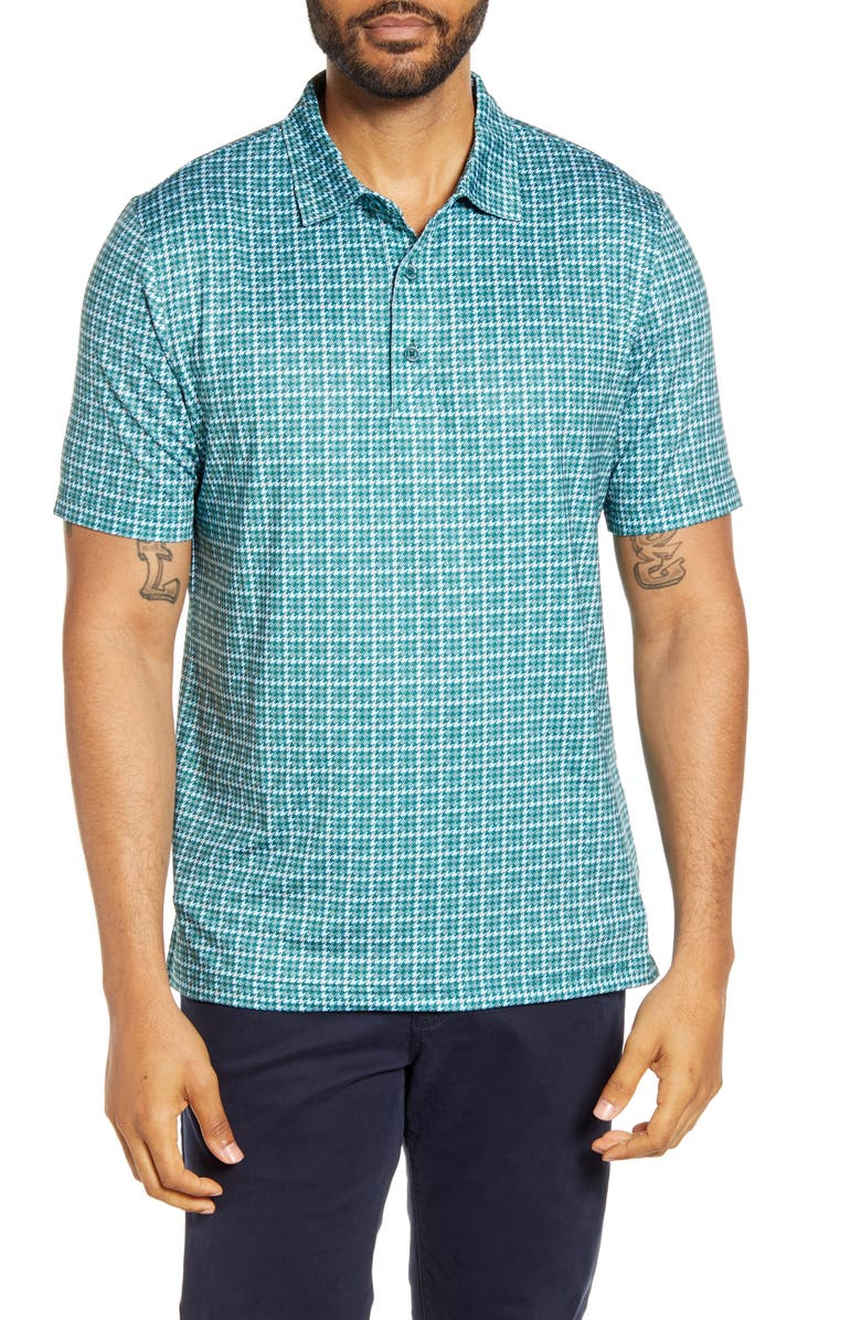 CUTTER & BUCK Pike Classic Fit Houndstooth Print Performance Polo, Main, color, SEAWEED