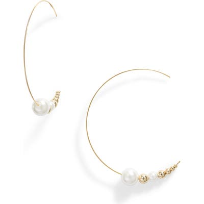 Jules Smith Imitation Pearl Threader Hoop Earrings